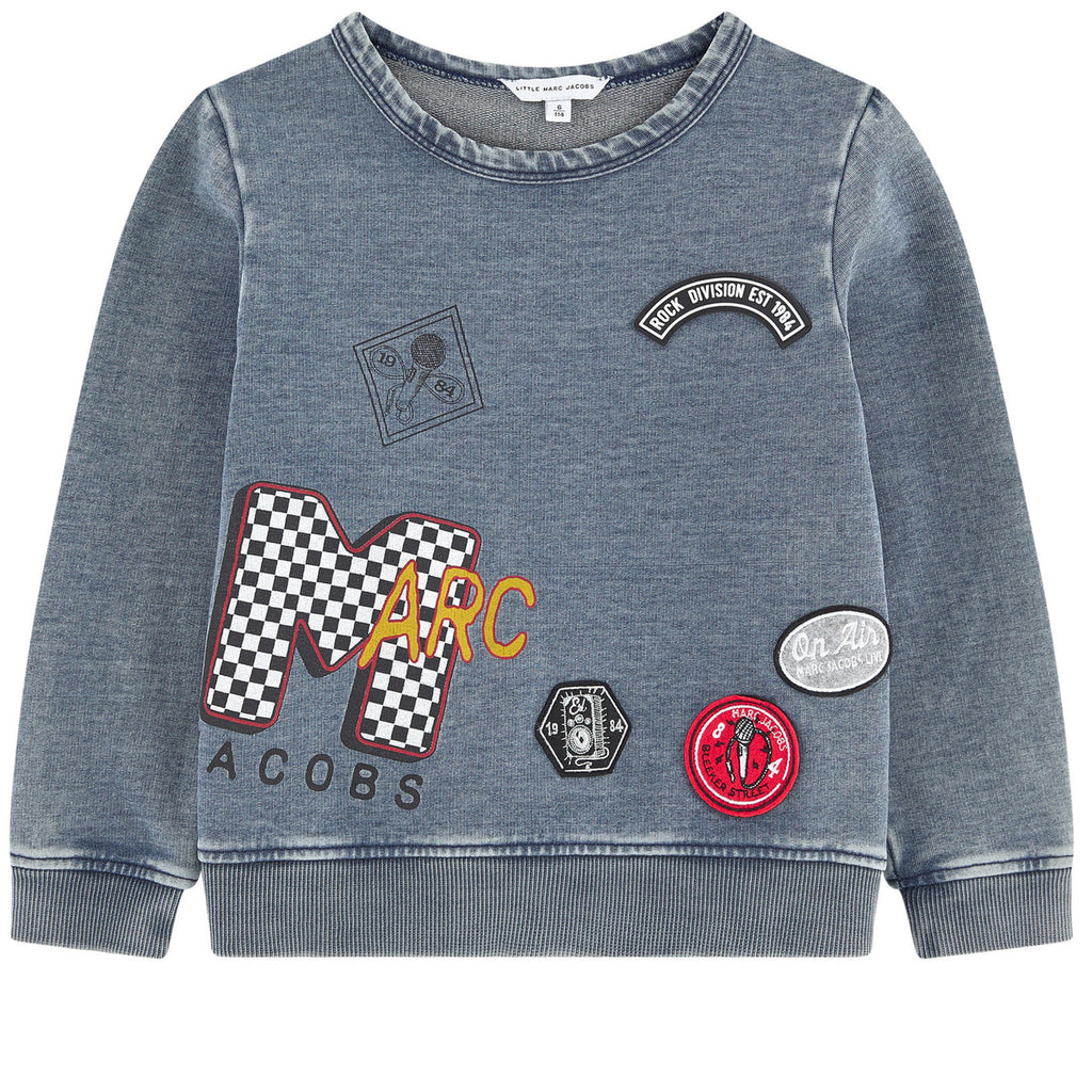 Little Marc Jacobs Boys Blue Grey Patched Sweatshirt Boys Sweaters & Sweatshirts Little Marc Jacobs [Petit_New_York]
