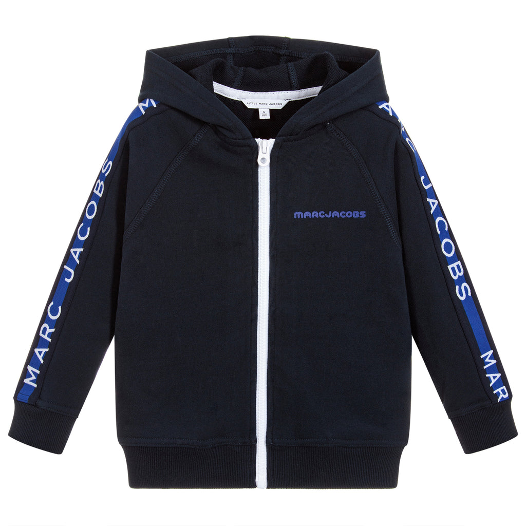 Boys Navy Blue Logo Zip-Up Hoodie
