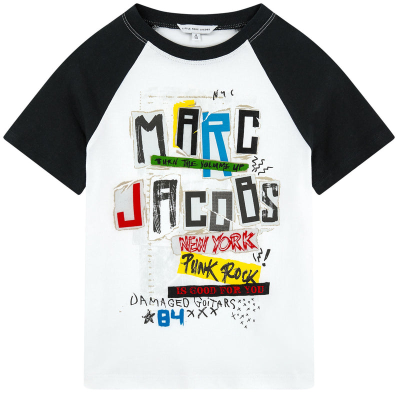 2d64c399f Marc Jacobs Boys White and Black Printed Rock 'n' Roll T-shirt