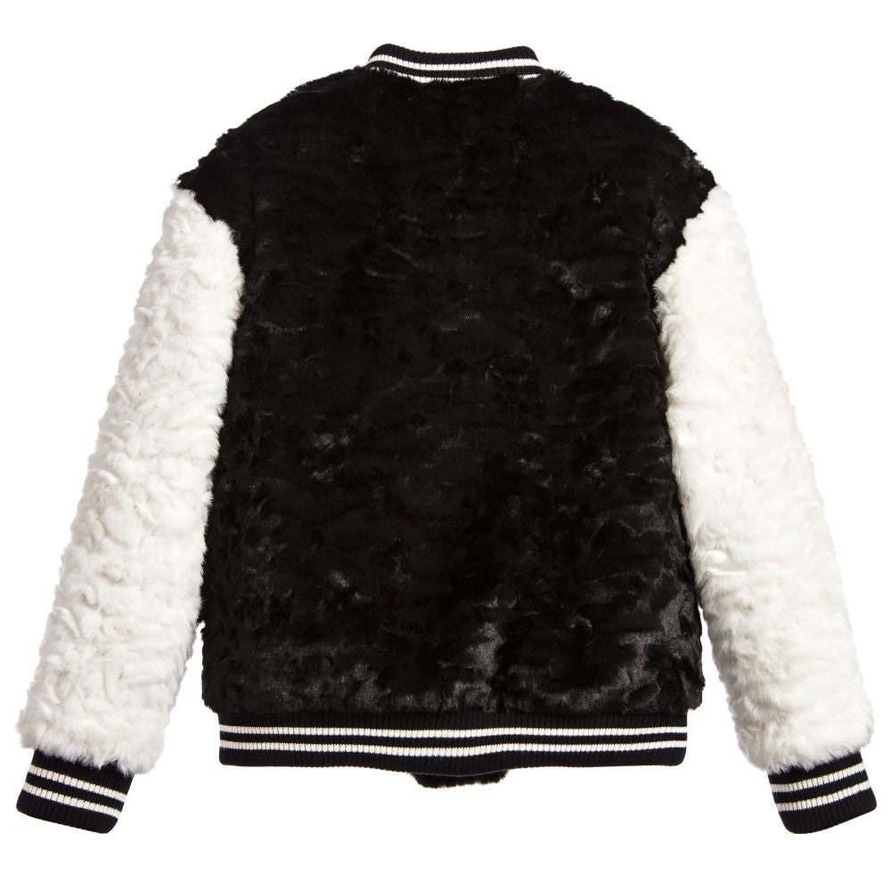 Marc Jacobs Girls Black Fuzzy Varsity Jacket (Mini-Me) Girls Jackets & Coats Little Marc Jacobs [Petit_New_York]