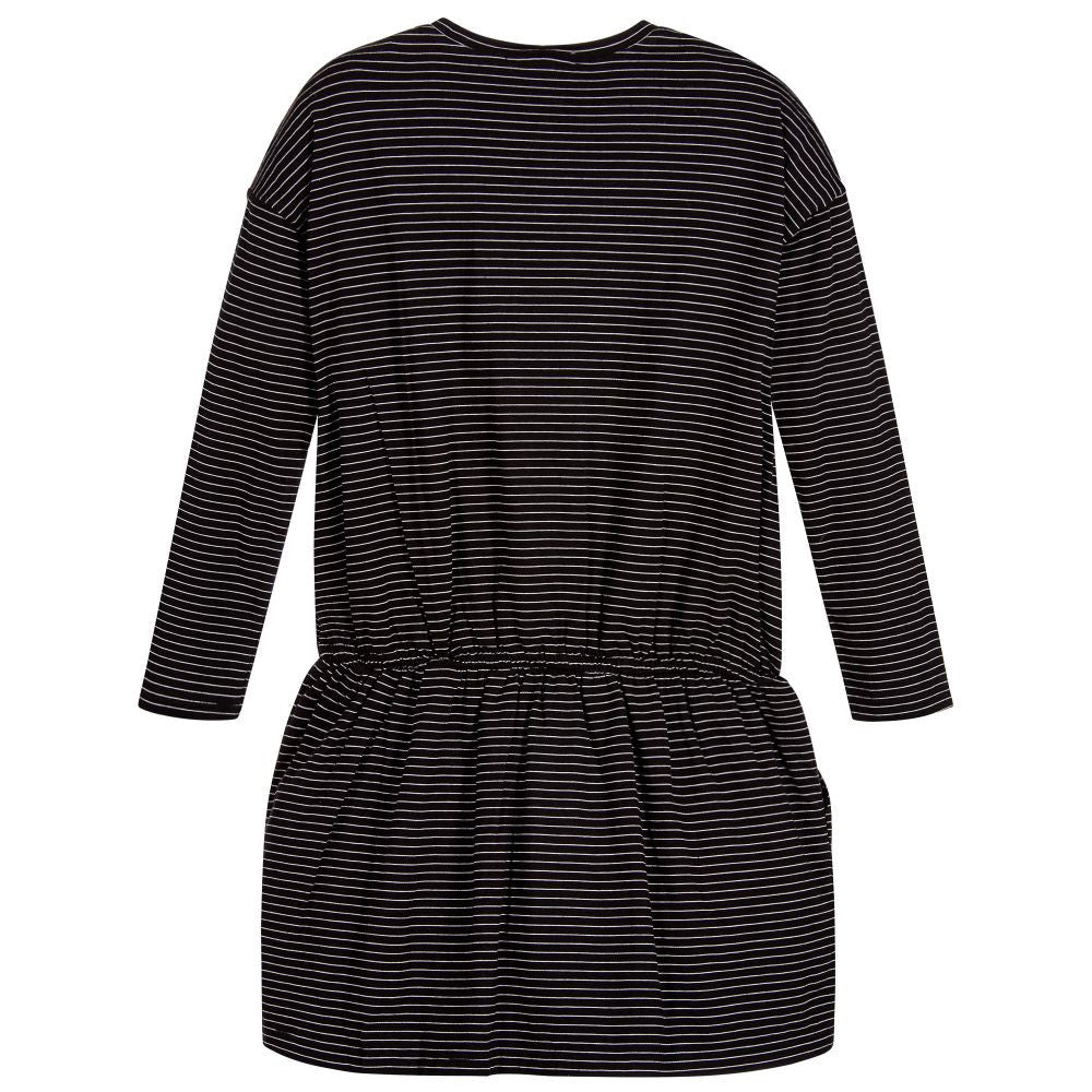 Marc Jacobs Girls Black and White Striped Swan Dress Girls Dresses Little Marc Jacobs [Petit_New_York]