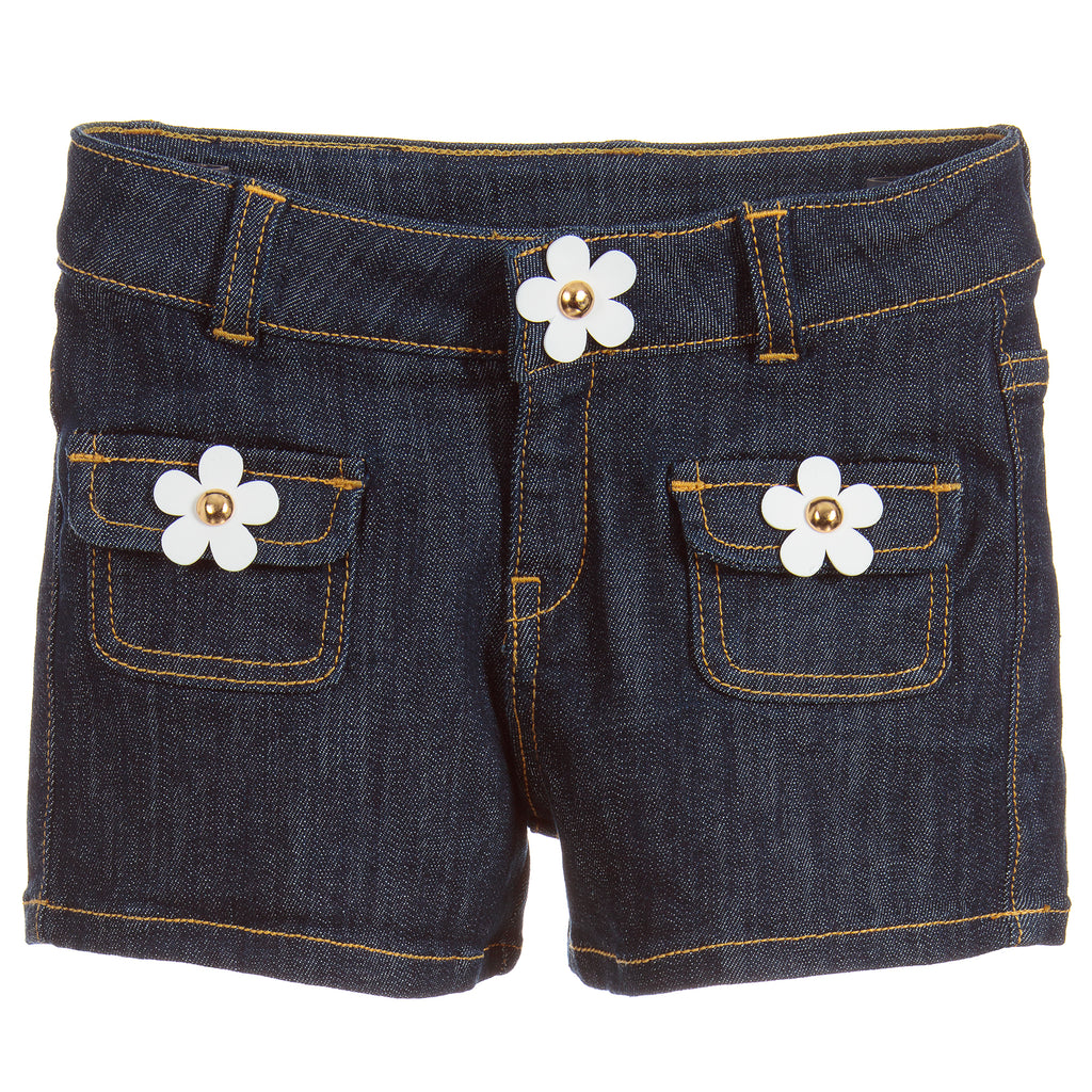 Girls Blue Denim Daisy Shorts