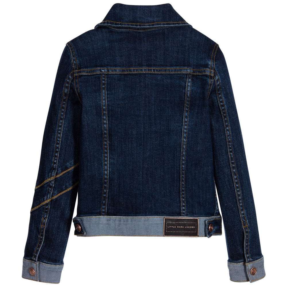 Little Marc Jacobs Girls Blue Denim Jacket With Patches