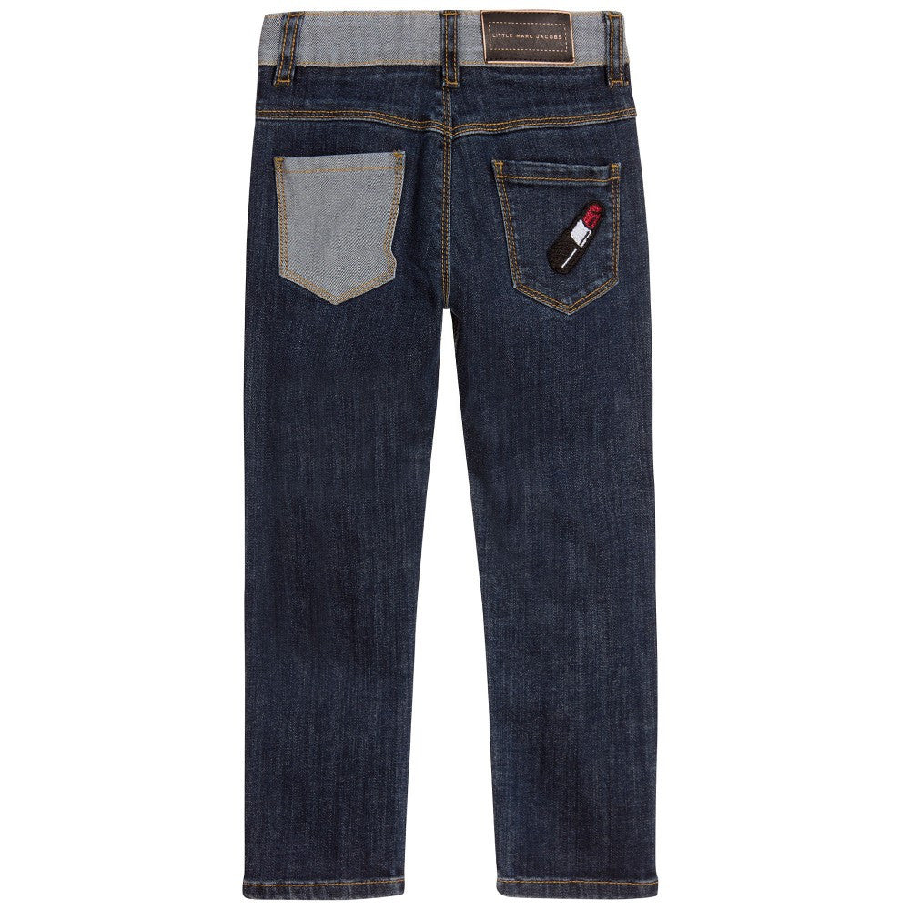 Little Marc Jacobs Girls Blue Denim Jeans with Patches Girls Pants Little Marc Jacobs [Petit_New_York]