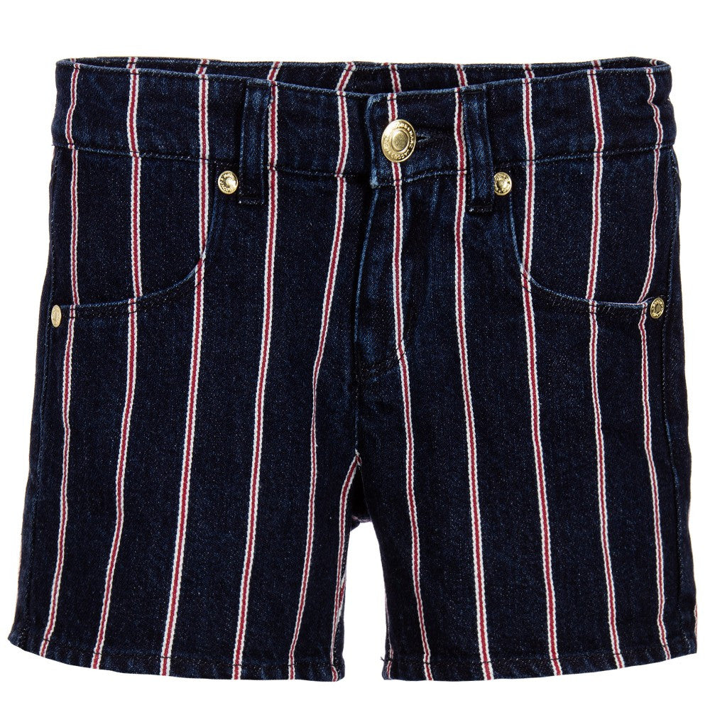Little Marc Jacobs Girls Denim Red Striped Shorts (Mini-Me) Girls Shorts Little Marc Jacobs [Petit_New_York]