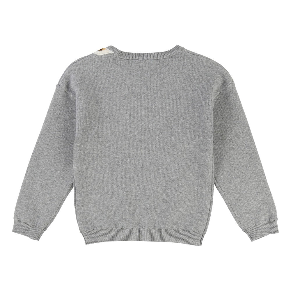 Marc Jacobs Girls Grey Cashmere Blend Tiger Sweater