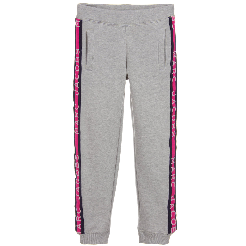 Girls Grey with Pink Logo Sweatpants