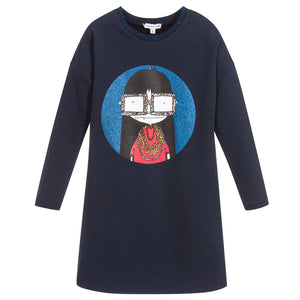 Marc Jacobs Girls Navy Blue Cotton Jersey Printed Dress
