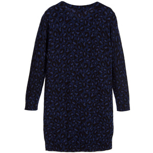 Little Marc Jacobs Girls Navy Blue Leopard Print Dress Girls Dresses Little Marc Jacobs [Petit_New_York]