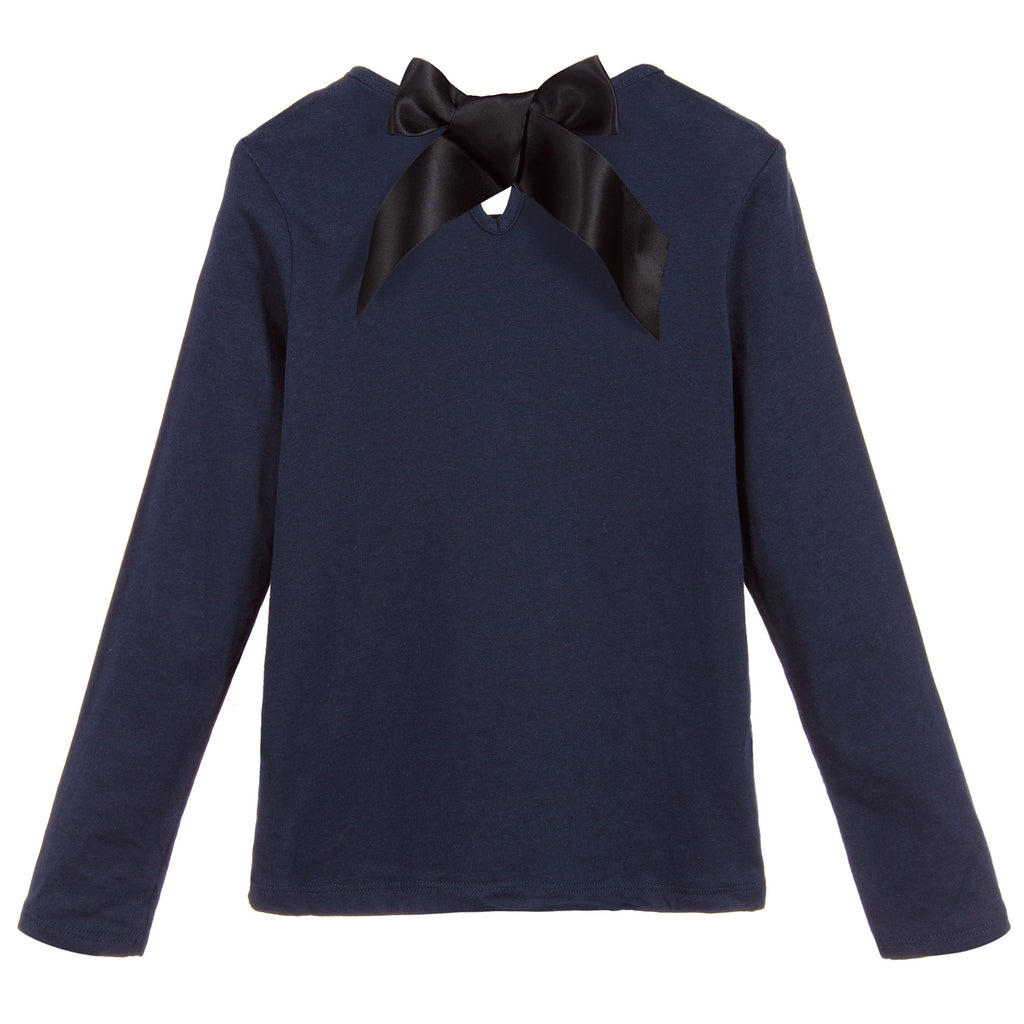 Marc Jacobs Girls Navy Blue Logo Top with Bowtie