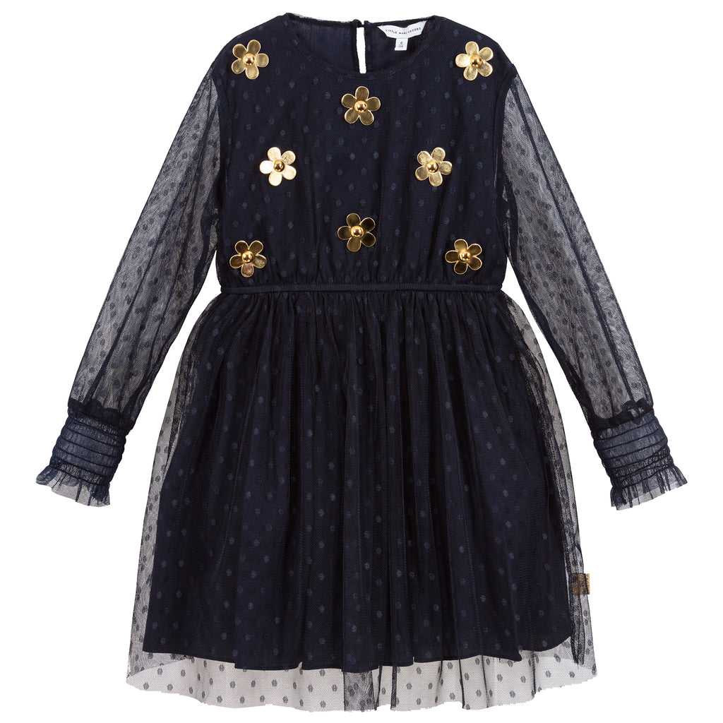Girls Navy Blue and Gold Dress