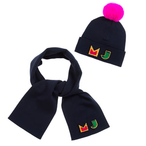 Marc Jacobs Girls Navy Blue Logo Hat and Scarf Set