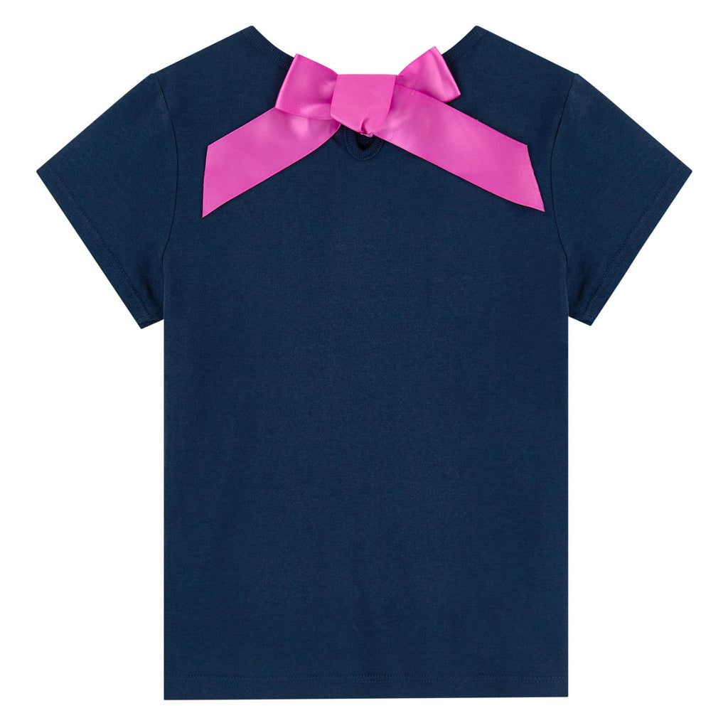 Girls Navy Blue with Gold Logo T-shirt