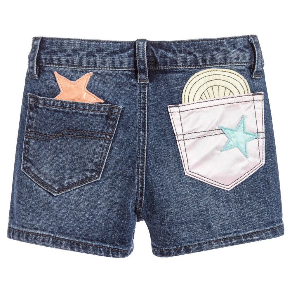 Marc Jacobs Girls Satin Patched Denim Shorts (Mini-Me)