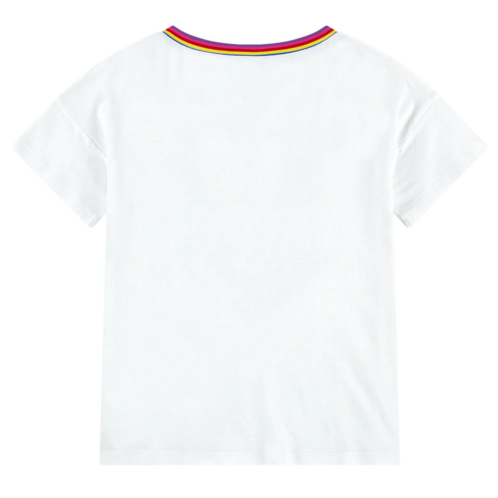 Little Marc Jacobs Girls White T-shirt with Colorful Logo Sequins