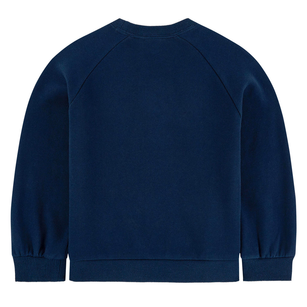 Girls Navy Blue Sequins Embroidery Sweatshirt