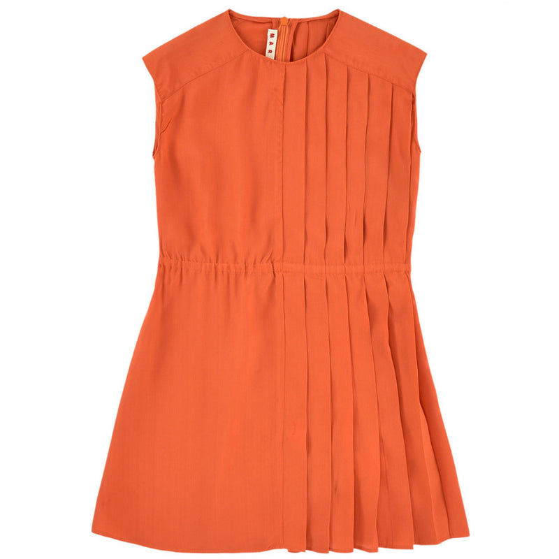 Marni Girls Pleated Orange Sundress