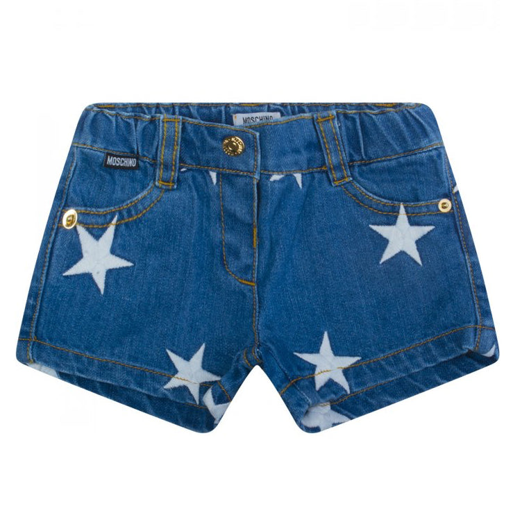 Moschino Baby Girls Blue Denim Shorts with Stars