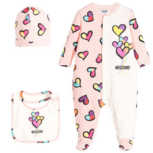 Moschino Baby Girls Hearts Print Onesie, Hat ad Bib Gift Set | New Collection Baby Rompers & Onesies Moschino [Petit_New_York]