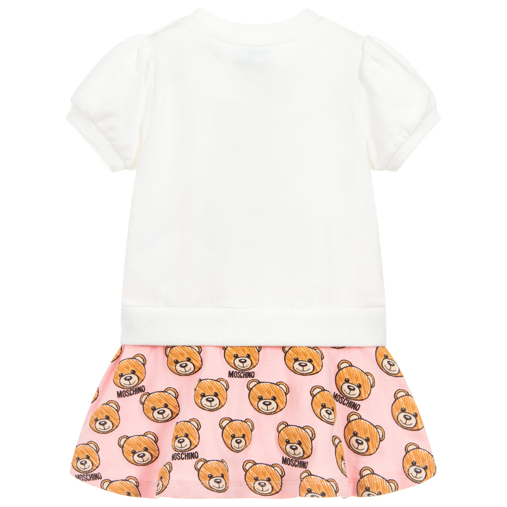 Baby Girls White & Pink Logo Bear Dress