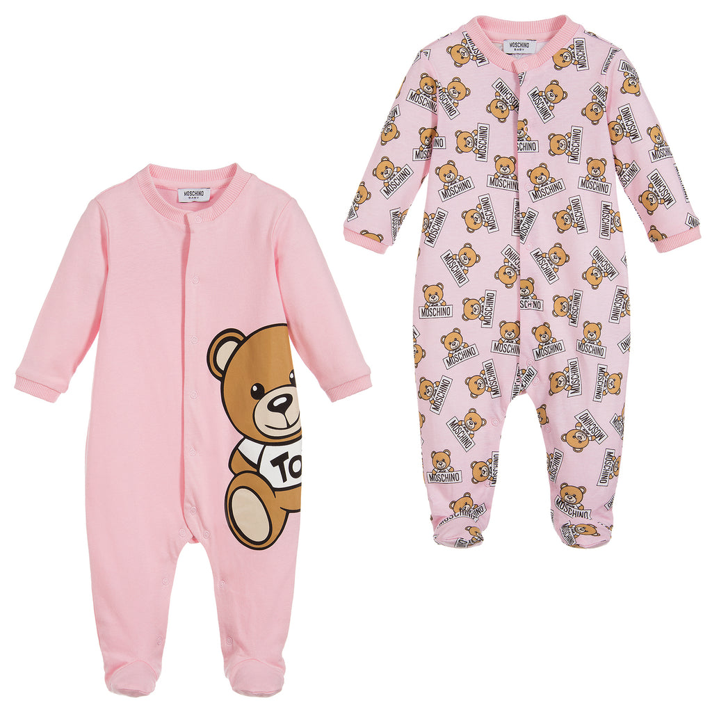 46efeab4c0e4 Moschino Baby Girls Pink Romper Two Piece Gift Set