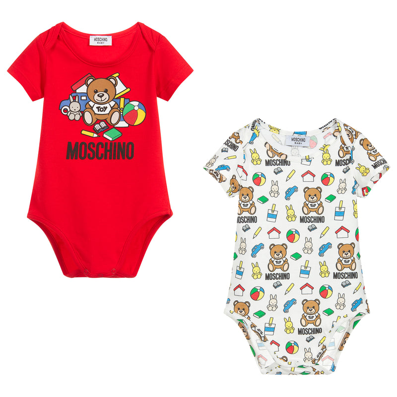 Moschino Baby Unisex Two Pack Rompers Gift Set Petit