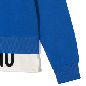 Moschino Boys Blue Layered Logo Sweater