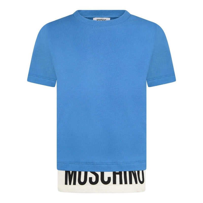 Moschino Boys Blue Layered Logo Top