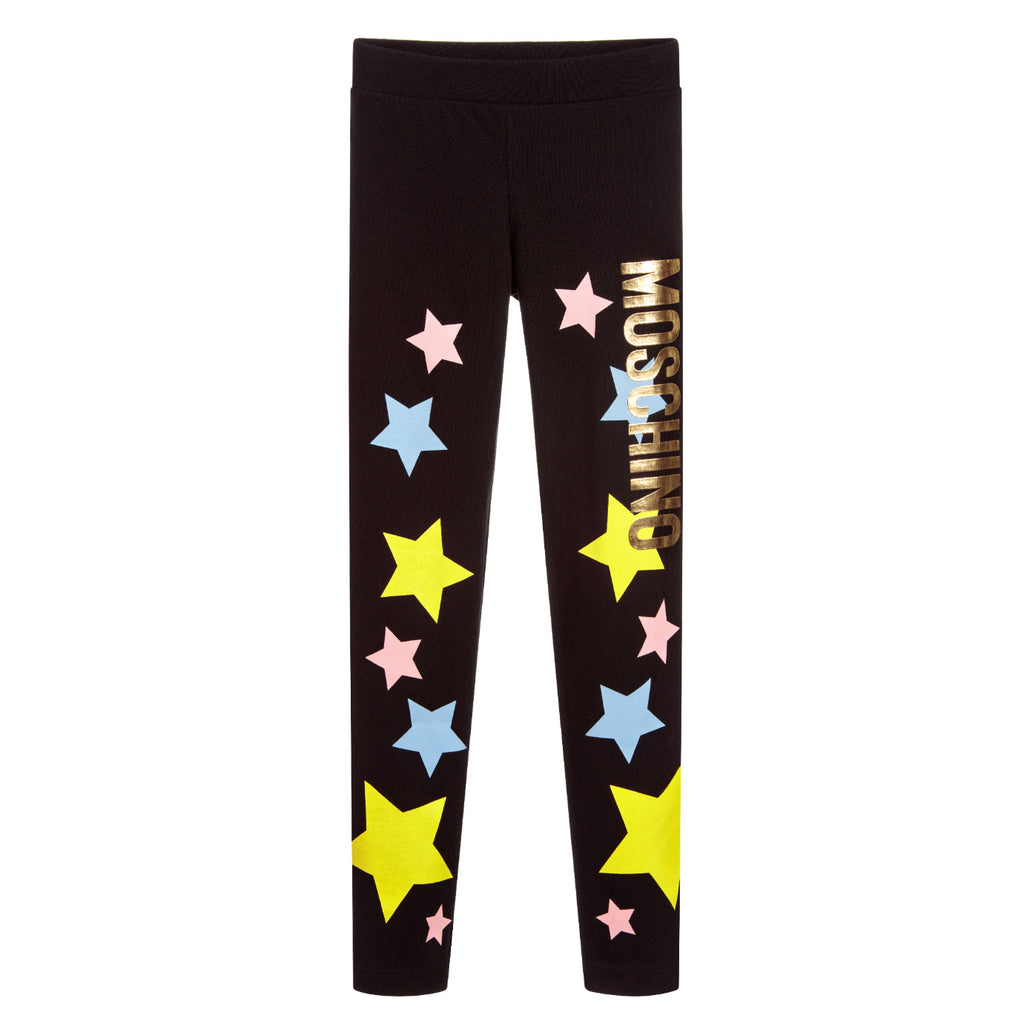Moschino Girls Black Leggings with Colorful Stars & Logo