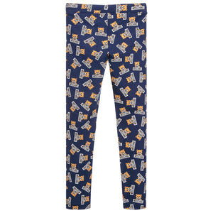 Moschino Girls Navy Blue Teddybear-Logo Printed Leggings