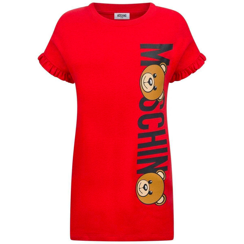 Girls Red Teddy Logo Dress