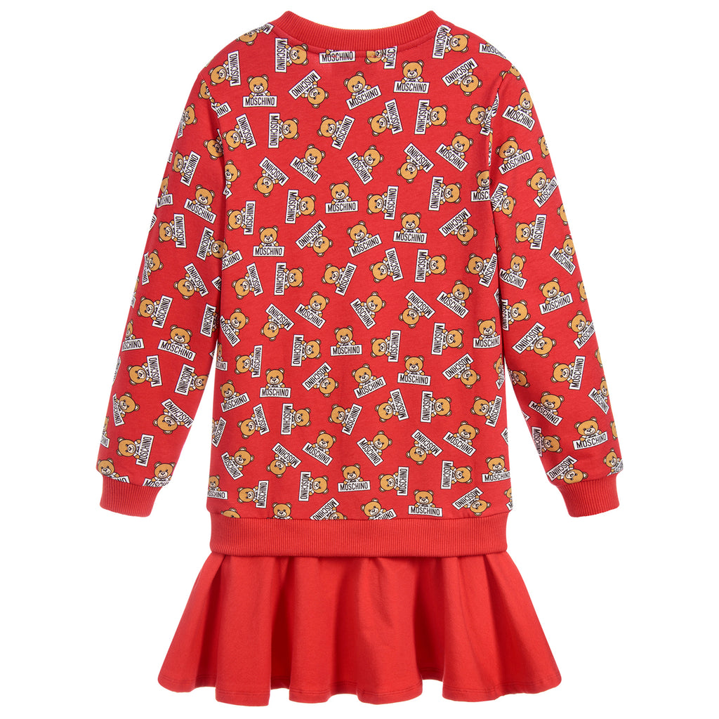 Moschino Girls Red Logo Teddybear Sweatshirt-Dress