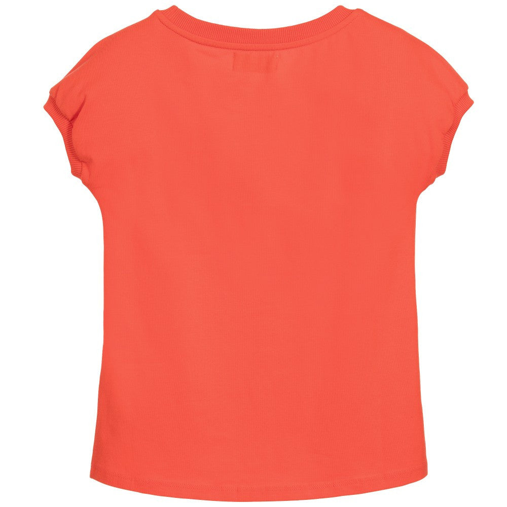 Moschino Girls Coral & Gold Logo Top