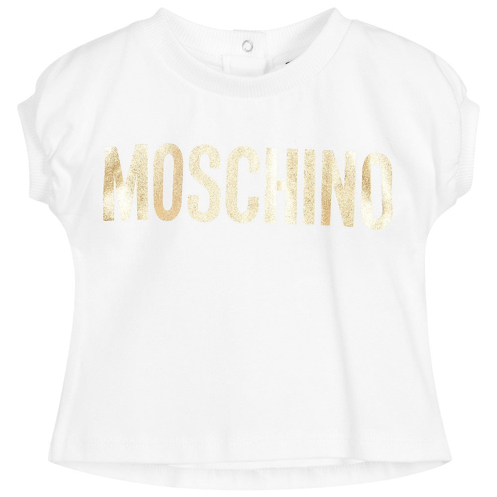 Moschino Baby Girls White and Gold Logo Top