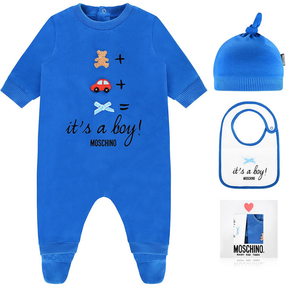 Moschino Baby 'It's A Boy!' Three-Piece Gift Set