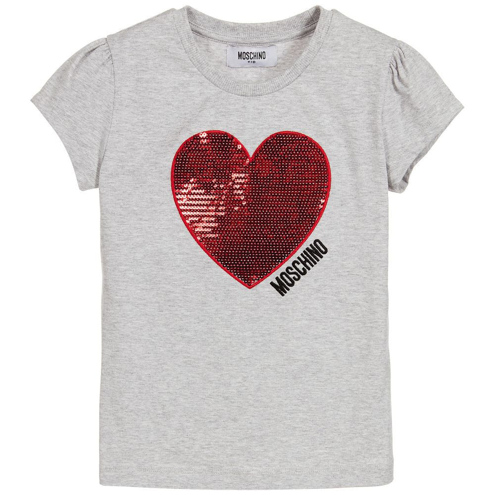 Moschino Girls Sequins Hearts T-shirt