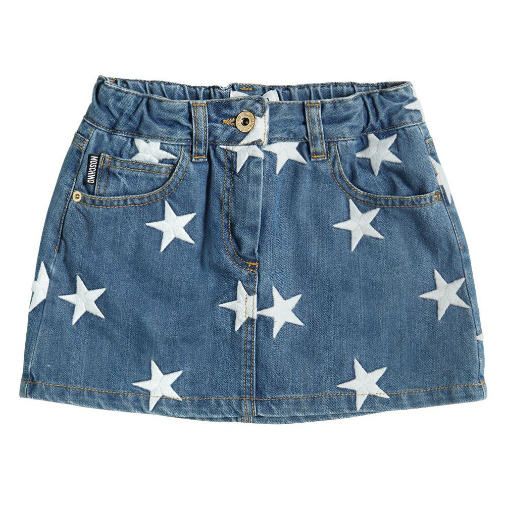 Moschino Girls Star Embroidered Denim Skirt (Mini-me)