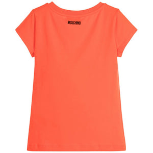 Moschino Girls Coral Sparkly Face T-shirt