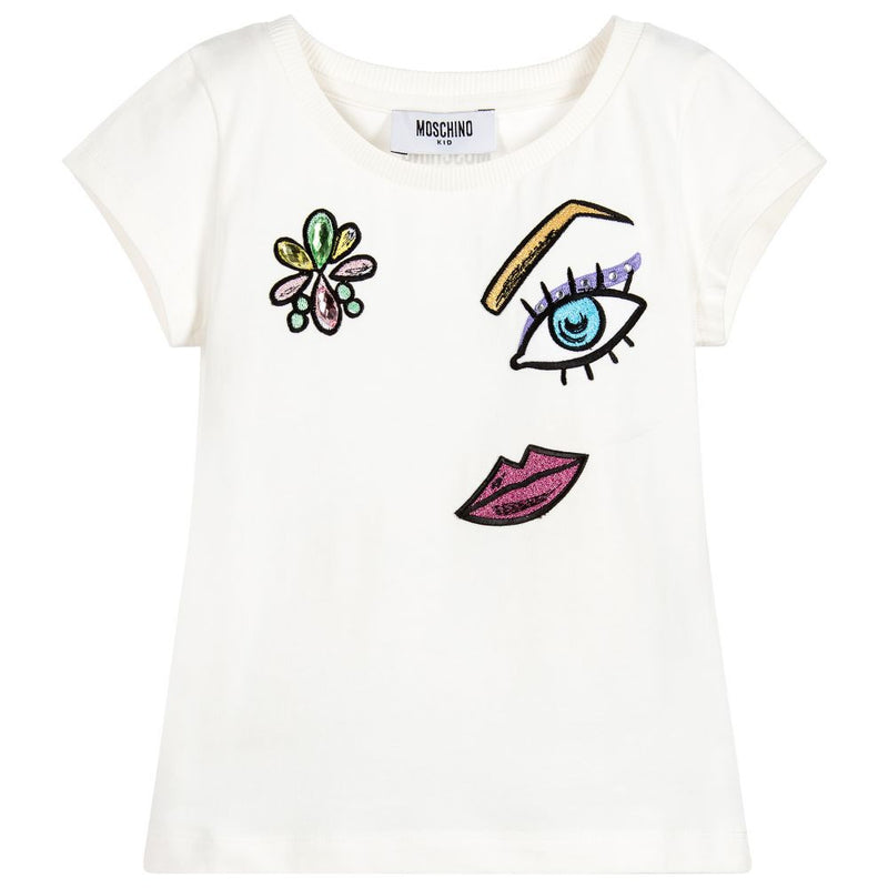 fa3c22cea Moschino Girls White Sparkly Face T-shirt – Petit New York