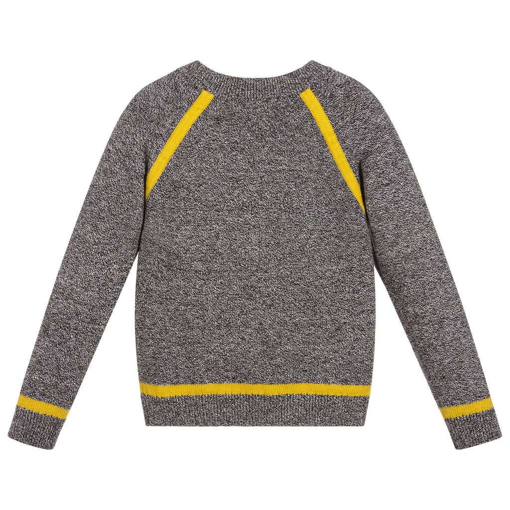 Paul Smith Boys Grey Knitted Sweater with Yellow Accents