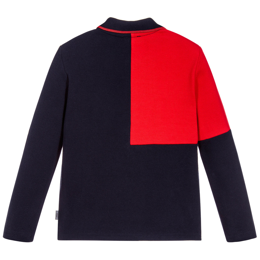 Paul Smith Boys Navy Contrast Red Piqué Polo Shirt
