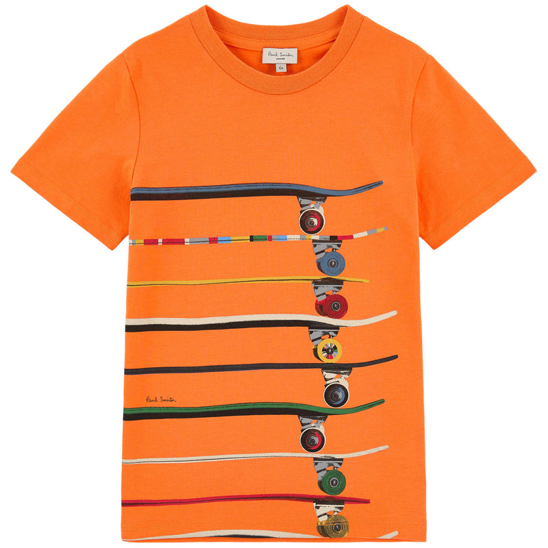 Paul Smith Boys Orange Skateboards T-shirt