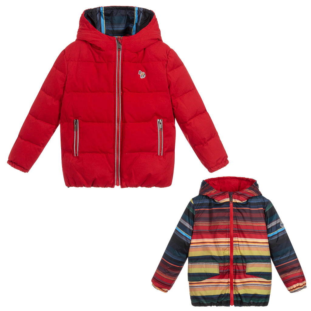 Paul Smith Boys Reversible Jacket Red Colorful Striped