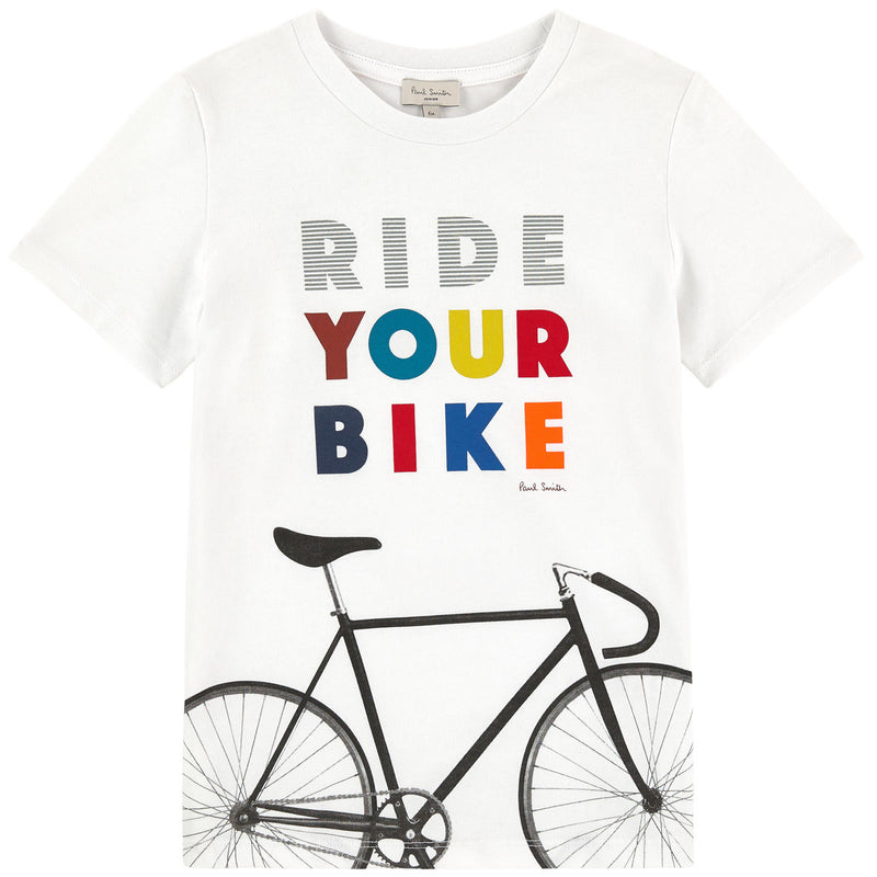 Paul Smith Boys 'Ride your bike' Printed White T-shirt