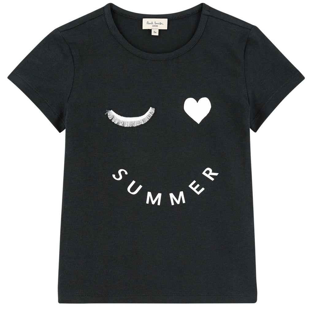 Paul Smith Girls 'Summer Wink' Black Printed T-shirt (Mini-Me)