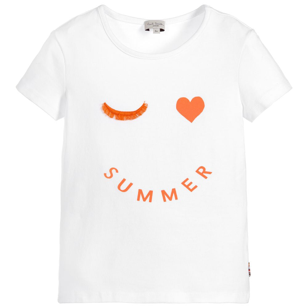Paul Smith Girls 'Summer Wink' White Printed T-shirt (Mini-Me)