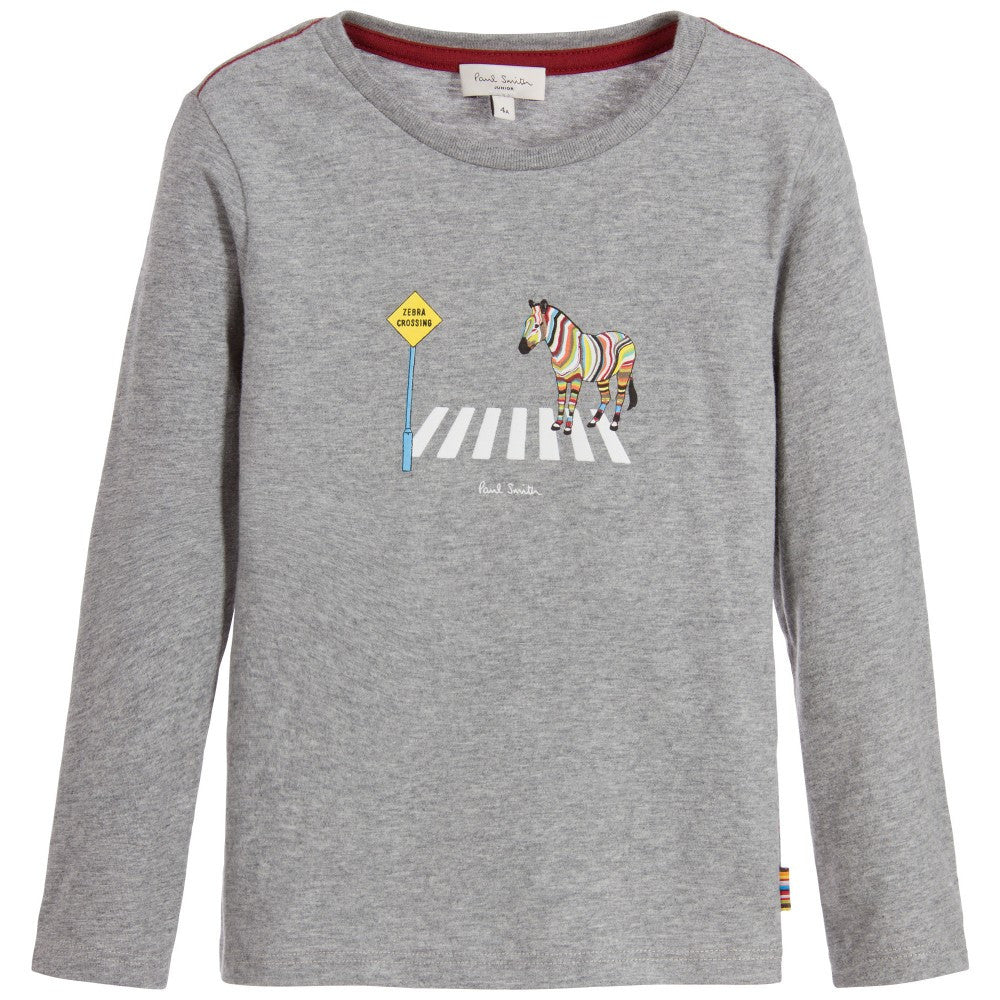 Paul Smith Boys Grey Zebra Crossing T-shirt