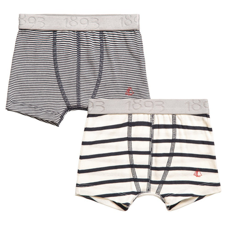 Petit Bateau Boys Striped Boxer Shorts Two-pack