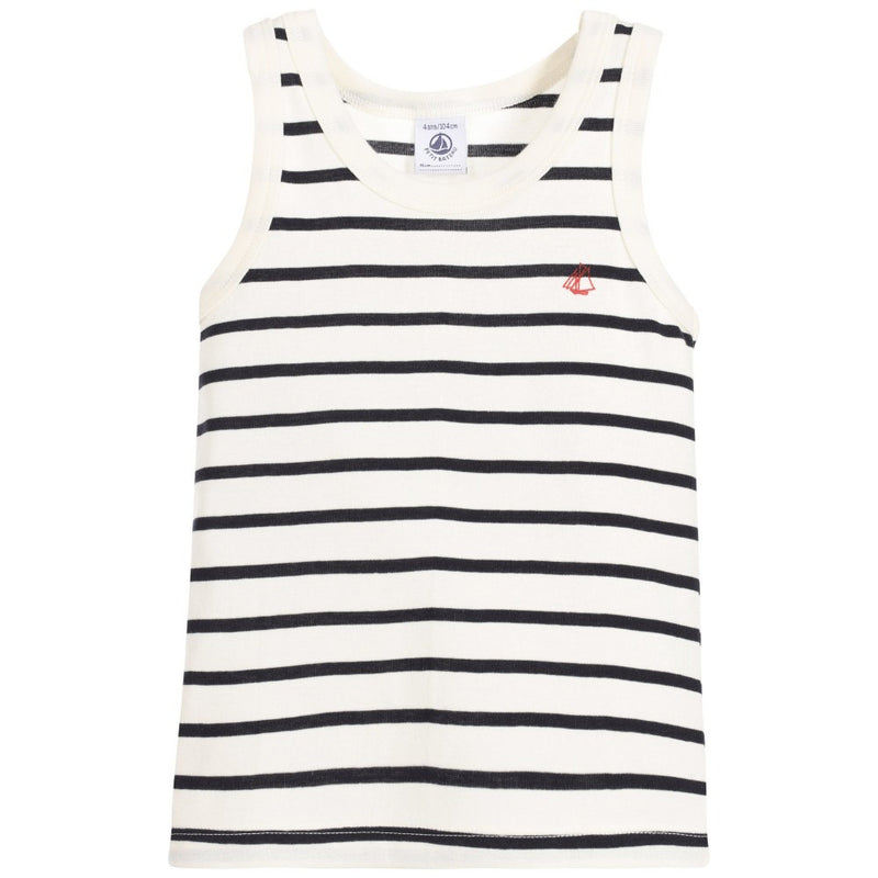 Petit Bateau Boys White and Blue Striped Tank Top