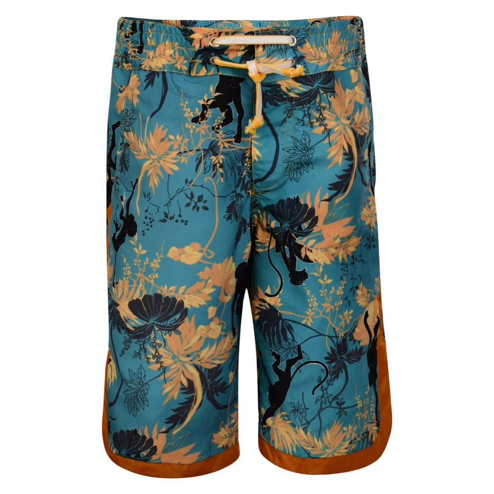 Boys Floral Blue & Orange Swim Shorts